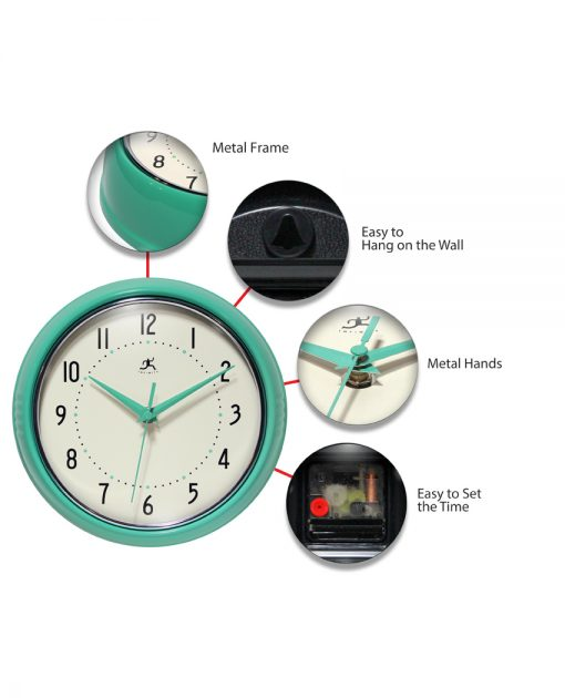 round circle turquoise retro wall clock aluminum