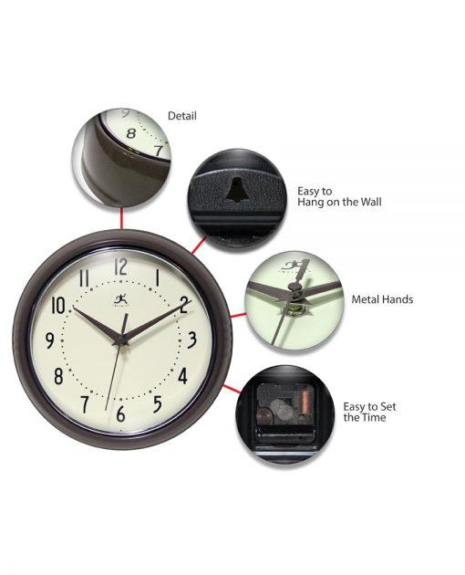 Slate Iron Aluminum Wall Clock retro circle round