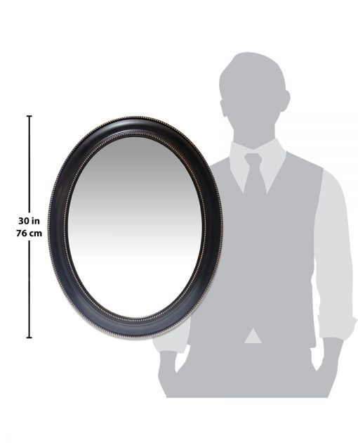 sonore black aged wall mirror 30 inch oval for scale