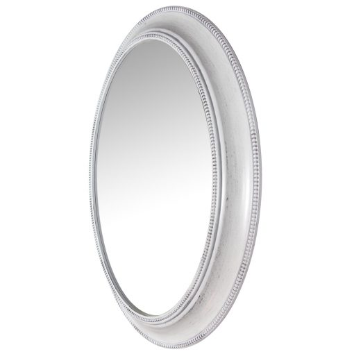 left side of sonore white aged wall mirror 30 inch oval entryway