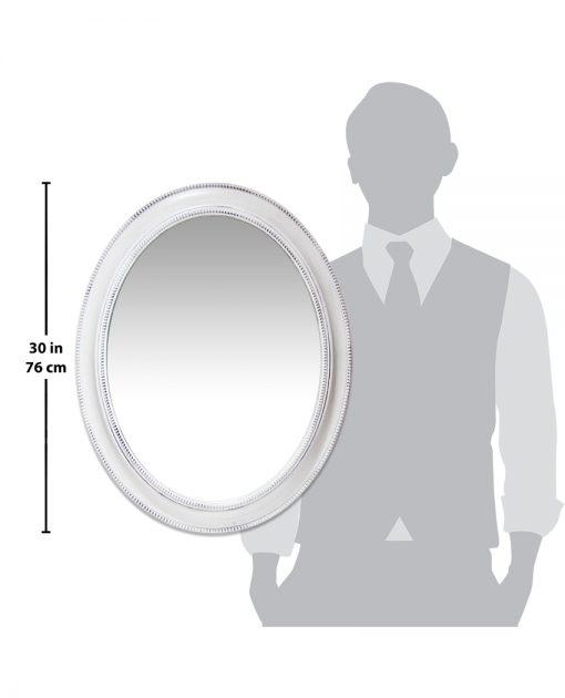 sonore white aged wall mirror 30 inch oval decorative mirror