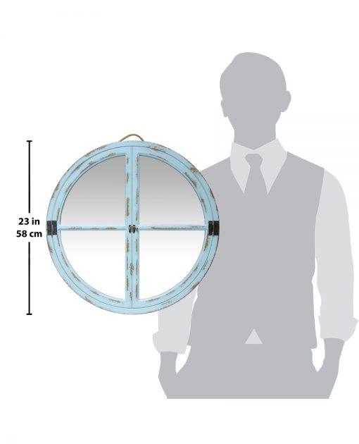 powdered blue wall mirror round four quadrants 24 inch