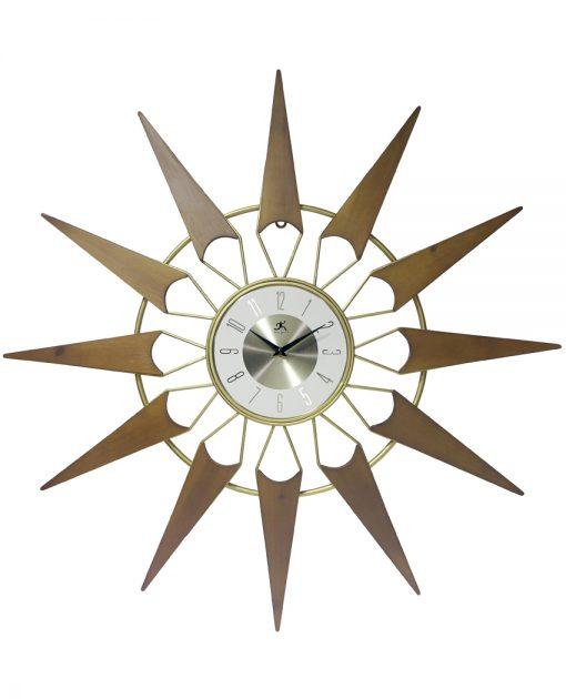 nova gold wood wall clock 30 inch mid century modern decorative