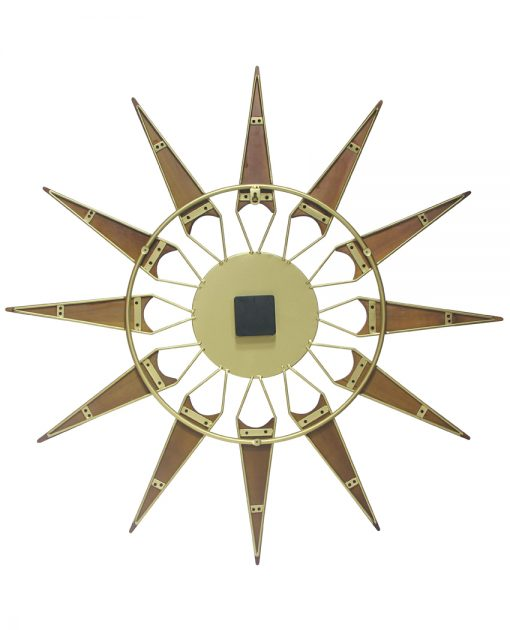 nova gold wood wall clock mid century 30 inch