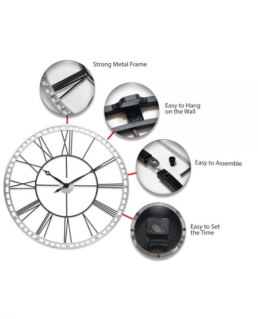 features of tower xxl extra large black wall clock 39 inch