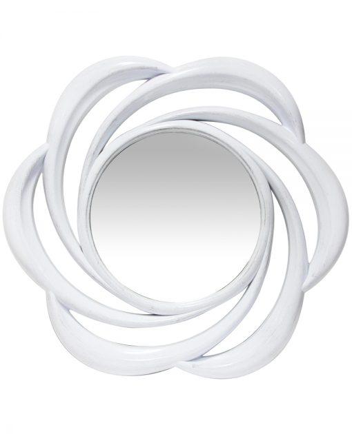 aged white wirral wall mirror 24 inch round