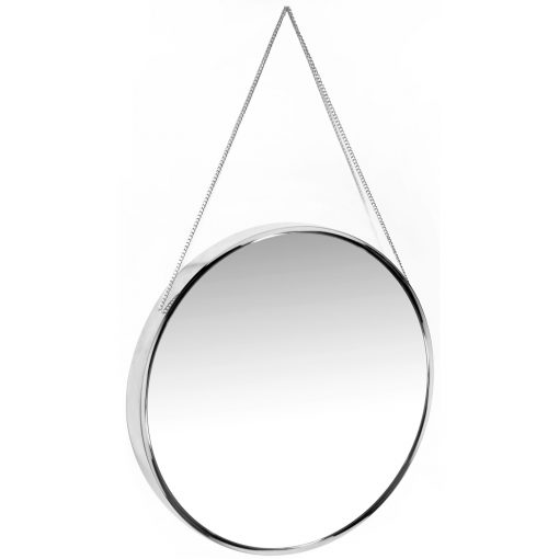 view from left of franc silver round wall mirror 17 inch
