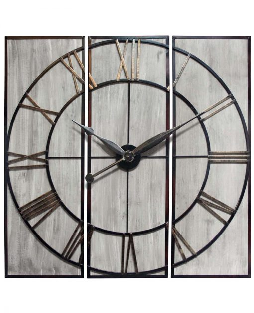 front of rustic 3 piece wall decor clock