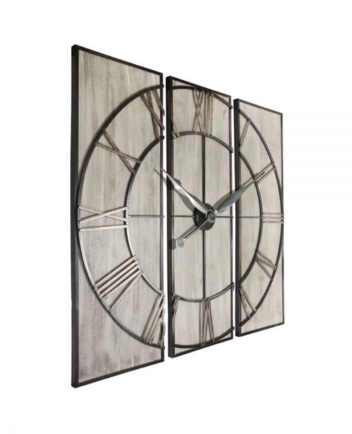 large 3 piece wall decor wall clock view from right side