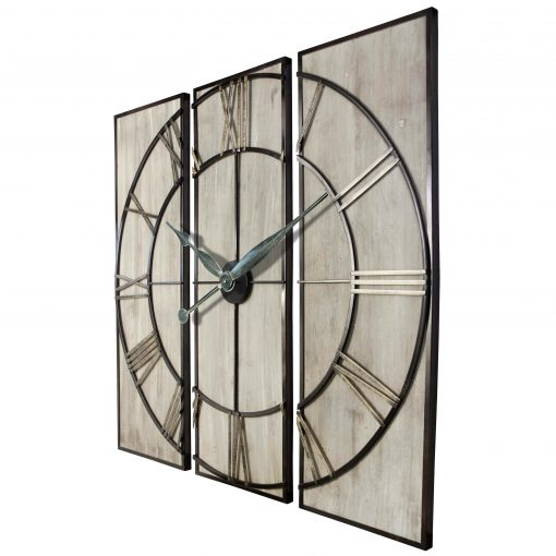 rustic 3 piece wall decor wall clock view from left