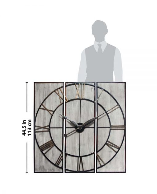rustic 3 piece wall decor image for scale wall clock
