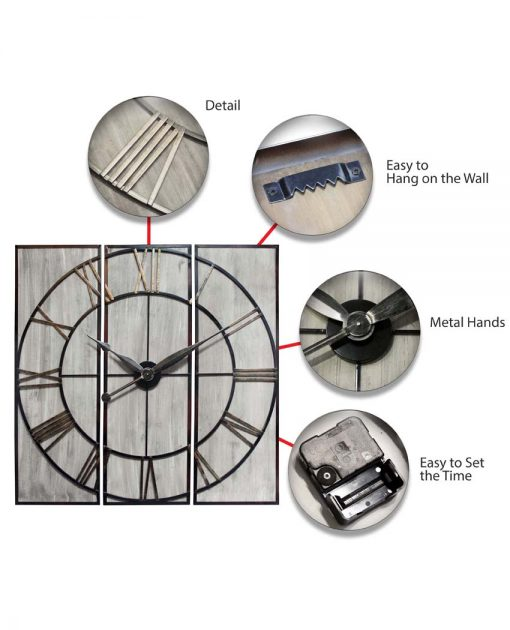rustic 3 piece wall decor wall clock features