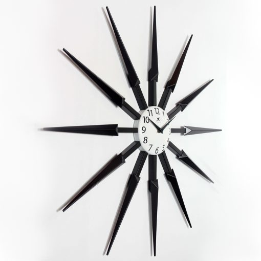 right side view celeste black wall clock 24 inch mid century modern