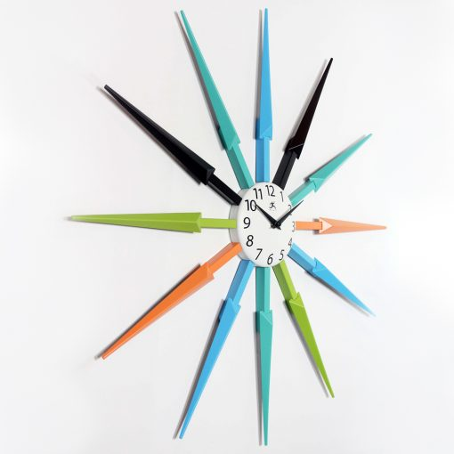 right side view celeste multi color wall clock 24 inch