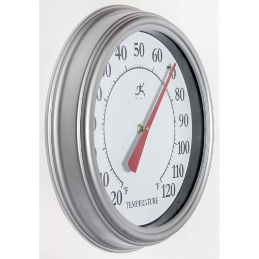 right side view of silver 12 inch wall thermometer indoor outdoor red metal hand