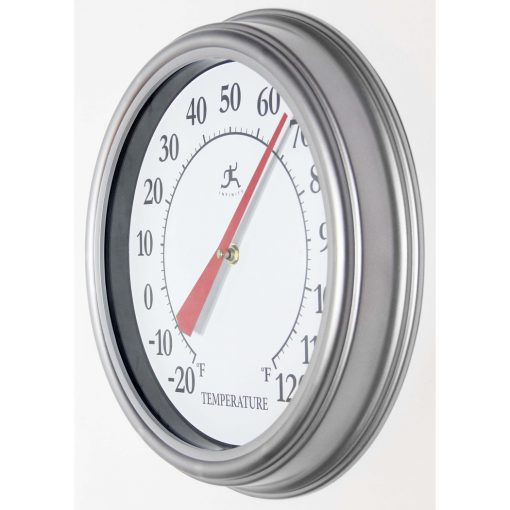 left side view of silver wall thermometer indoor outdoor 12 inch