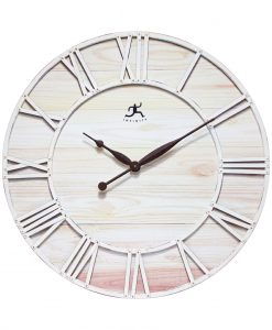 farmhouse fusion wall clock large ivory white rustic wood