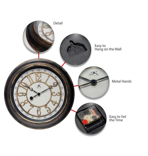 brown rustic wall clock features metal hands quartz movement easy to hang good detail rustic brown medium size 15 inch 16