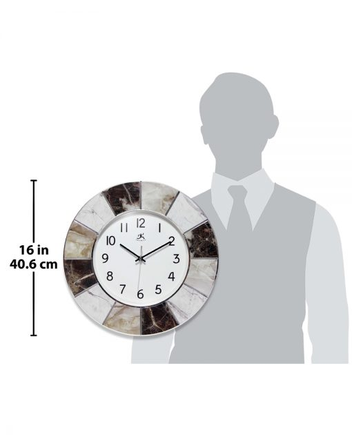 modern marble wall clock for scale medium office 16 inch