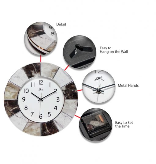 modern marble wall clock features detail easy to hang metal hands set time office 16 inch