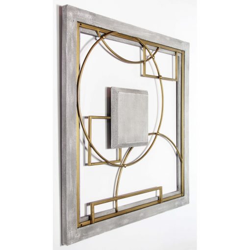 grey and yellow gold large wall decor left view provincial abstract