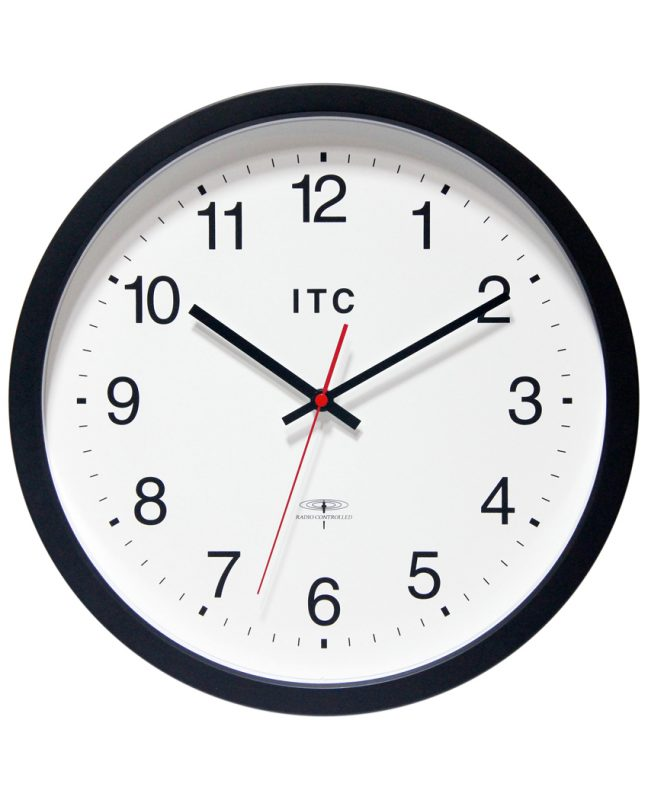 simple office clock black wall