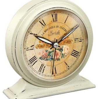 5.75 inch Boutique De Fleur; White Tabletop Clock