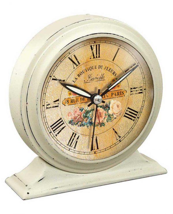 5.75 inch Boutique De Fleur; White Tabletop Clock