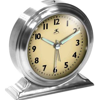 5.75 inch Boutique Silver Steel Tabletop Clock