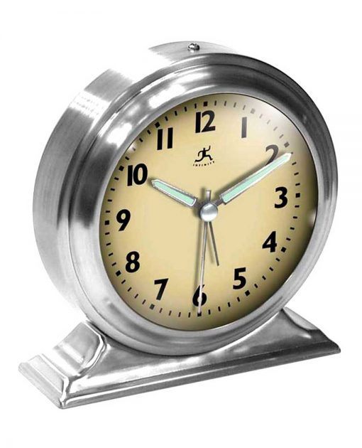 5.75 inch Boutique Silver Steel Tabletop Clock