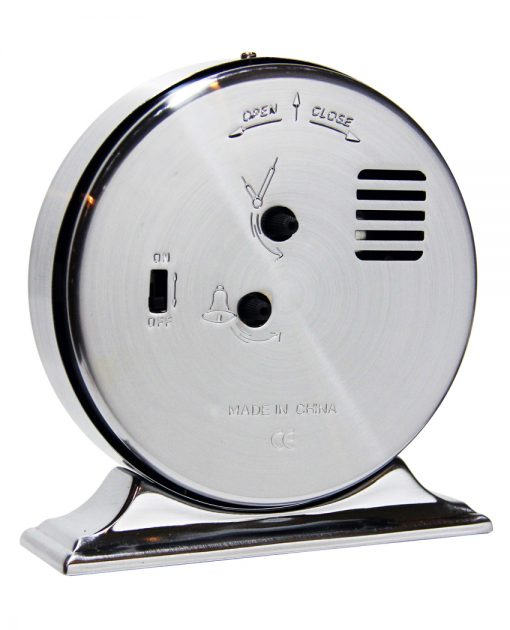 from back boutique silver tabletop clock