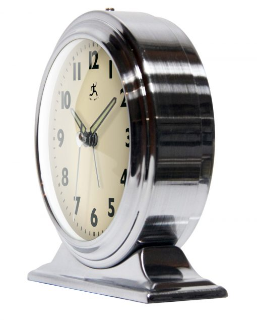 from left side boutique silver tabletop clock 6 inch