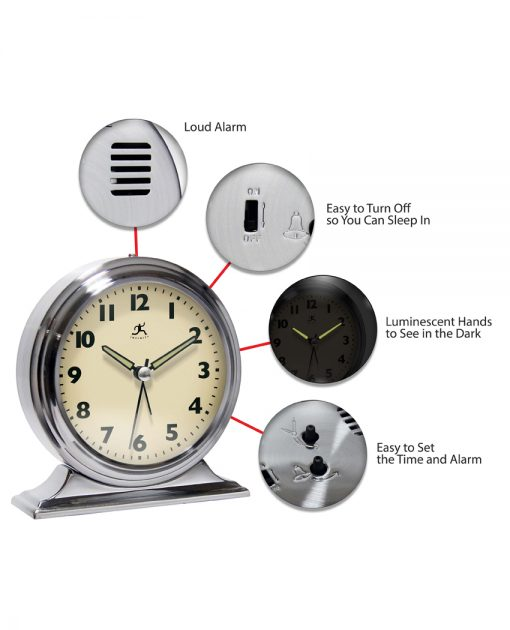 features of boutique silver tabletop clock
