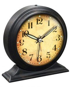 5.75 inch Boutique Black Steel Tabletop Clock