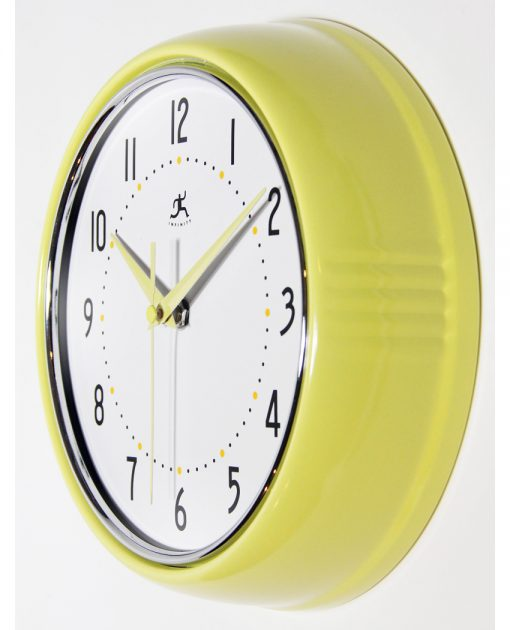 from left side yellow retro wall clock 9 inch