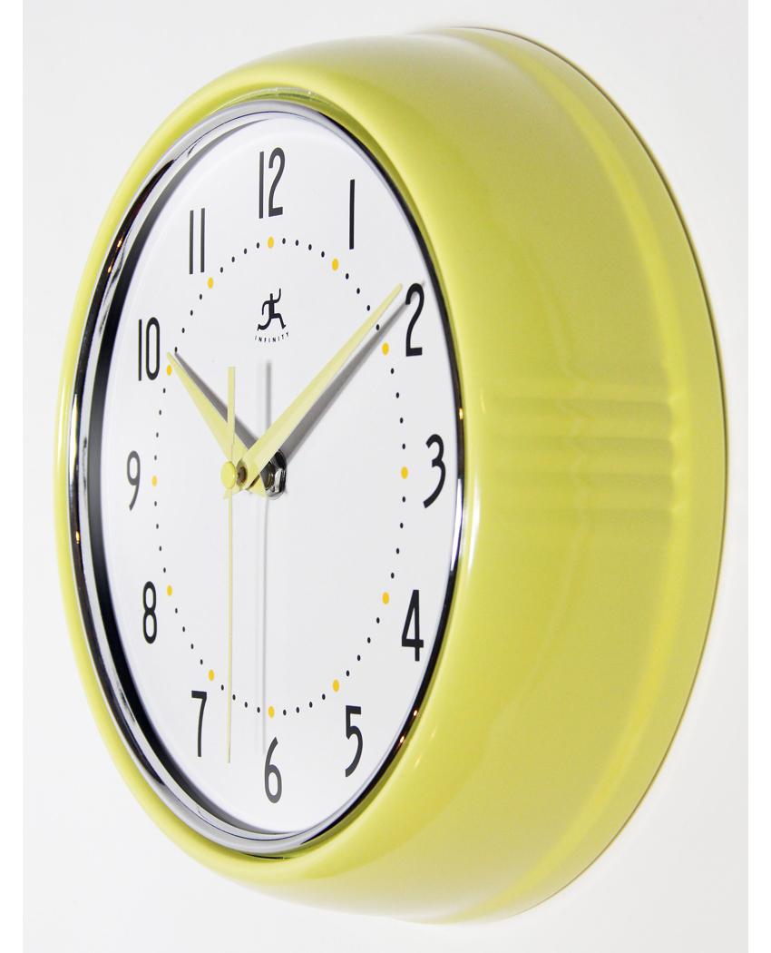 9 5 Inch Retro Yellow Aluminum Wall Clock Clock By Room