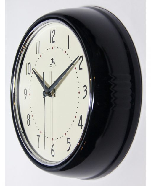 from left side retro black wall clock