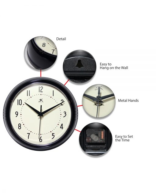 retro black wall clock 9 inch features