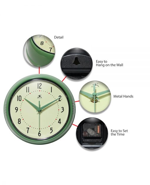 features of retro green diner wall clock 9 inch kitchen
