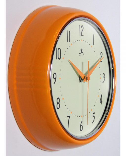from right side retro orange wall clock 9 inch