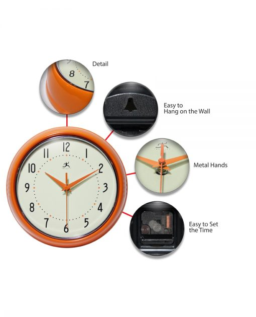 features of retro orange aluminum wall clock 9 inch