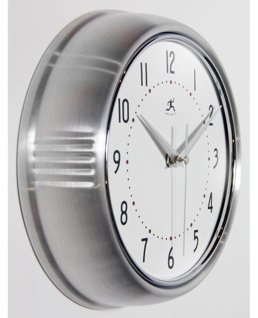 from right side silver wall clock retro 9 inch kitchen aluminum grey