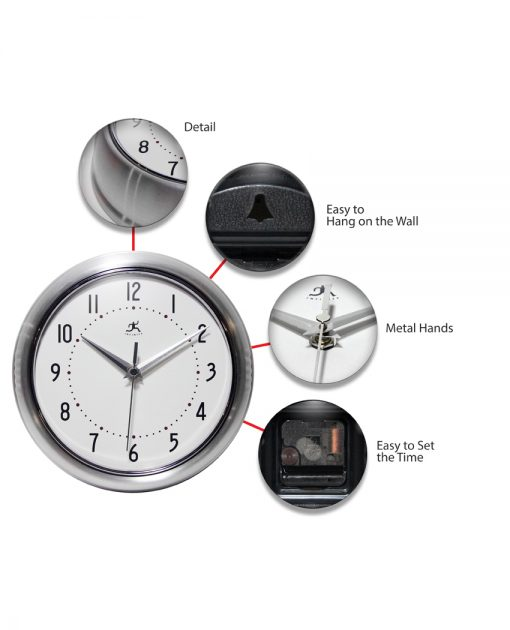 features of silver aluminum retro wall clock