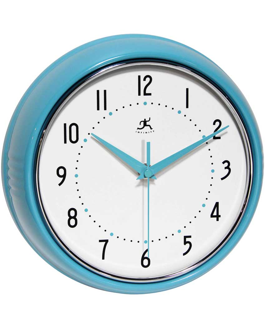 retro turquoise blue wall clock 9 inch