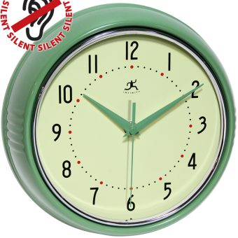 8.5 inch Retro Diner Green Steel Wall Clock