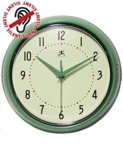 Green Retro Diner Wall Clock Round kitchen