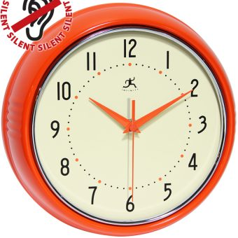 9.5 inch Retro Orange Aluminum Wall Clock
