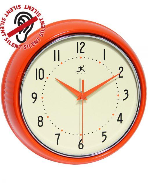 9.5 inch Retro Orange Aluminum Wall Clock