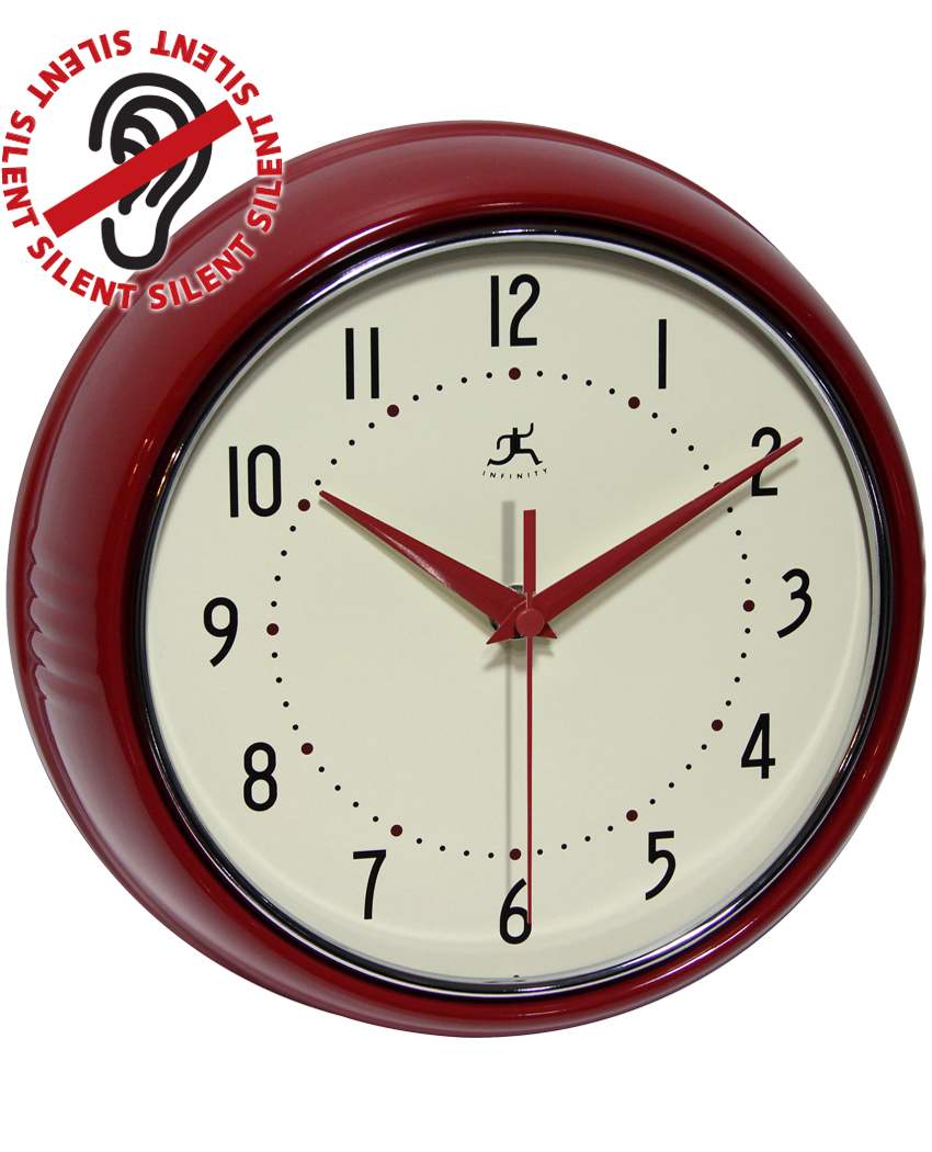 9.5 inch Retro Red; a Red Aluminum Wall Clock