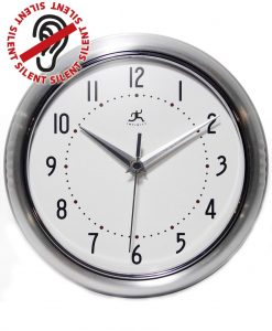 Round Silver Retro Wall Clock kitchen